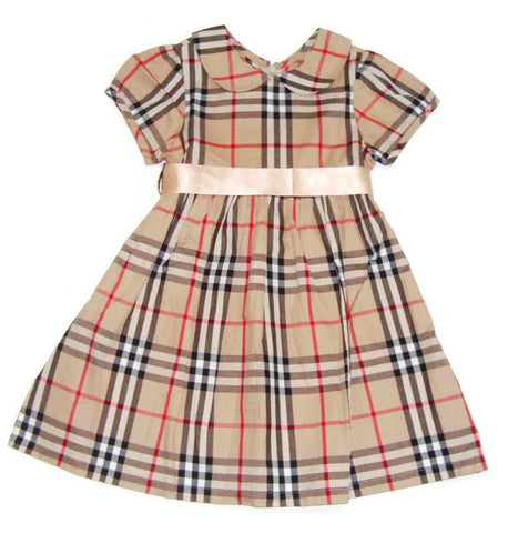 Brown Checked Girl Dress