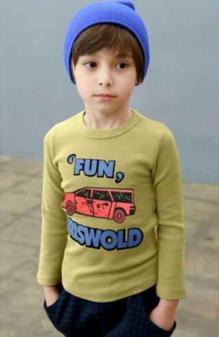 Korean Style Fun Car Slim Fit Cotton Boys T-shirts