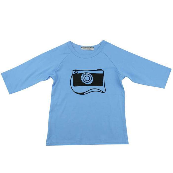 Blue Camera Slim Fit Cotton T-shirts