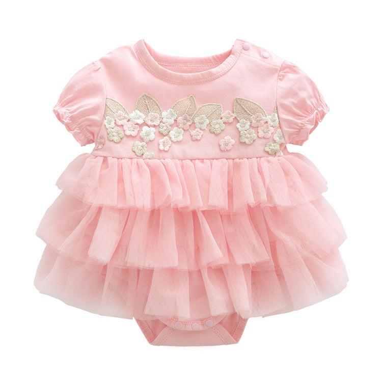 Baby Girl Layer Cake Romper Dress - Pink ( Ready stock)