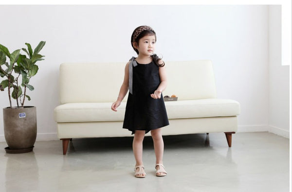 Girls Checked Bow Cotton Black Dress
