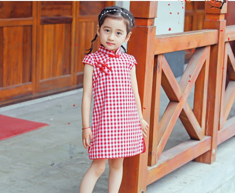 Girls Red Check Cheongsam Dress - Red (Ready stock)