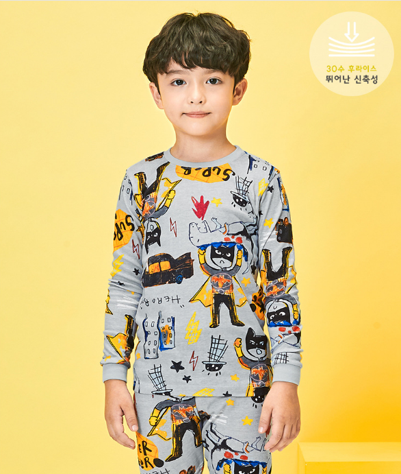 Organic Cotton Comic Style Long Pyjamas - Grey Super Hero ( Pre-order)