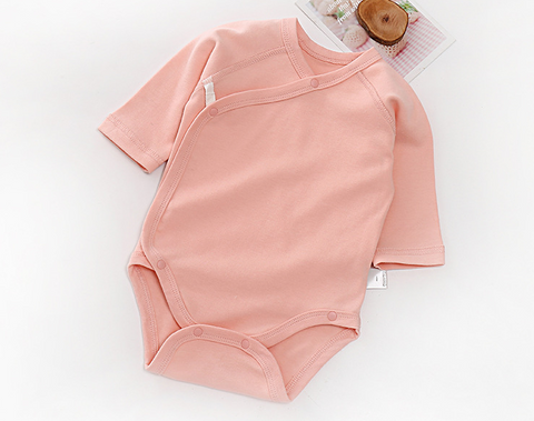 Baby Long Sleeve Wrap Style Bodysuits - Pink ( Ready stock)