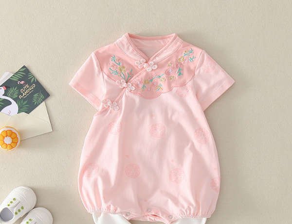 Cotton Floral Embroidery Baby Cheongsam Romper- Blue ( Ready stock)