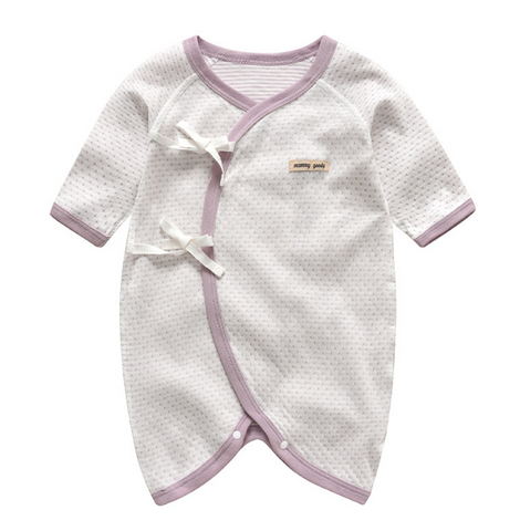 Baby Long Sleeve Wrap Style Rompers - Purple ( Ready stock)