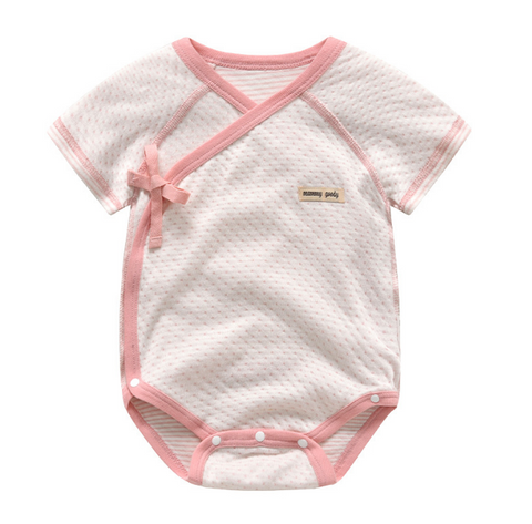 Baby Short Sleeve Wrap Style Bodysuits - Pink ( Ready stock)