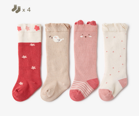 Baby Girl Long Socks - 4 Pairs in a Box ( Ready stock)