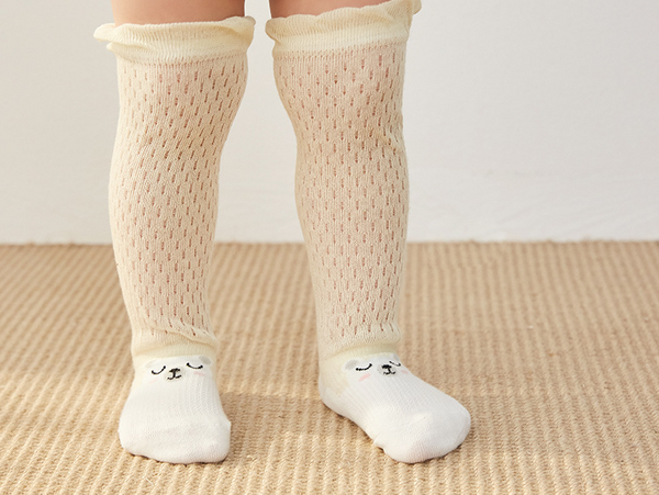 Baby Girl Summer Net Long Socks - 3 Pairs in a Box ( Ready stock)