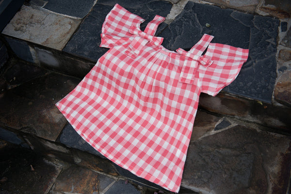Girls' Off Shoulder Checked Fly Sleeve Dress- Pink