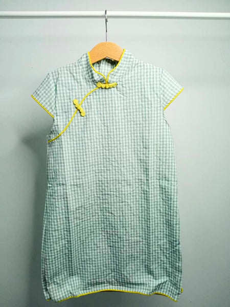Girls Green Check Cheongsam Dress - (Ready stock)