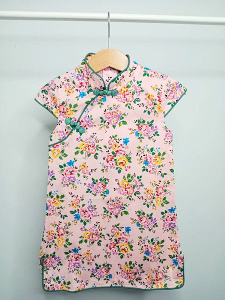 Girls Pink Floral Cheongsam Dress - (Ready stock)
