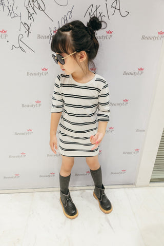 Girl's White Cotton black Striped Dress