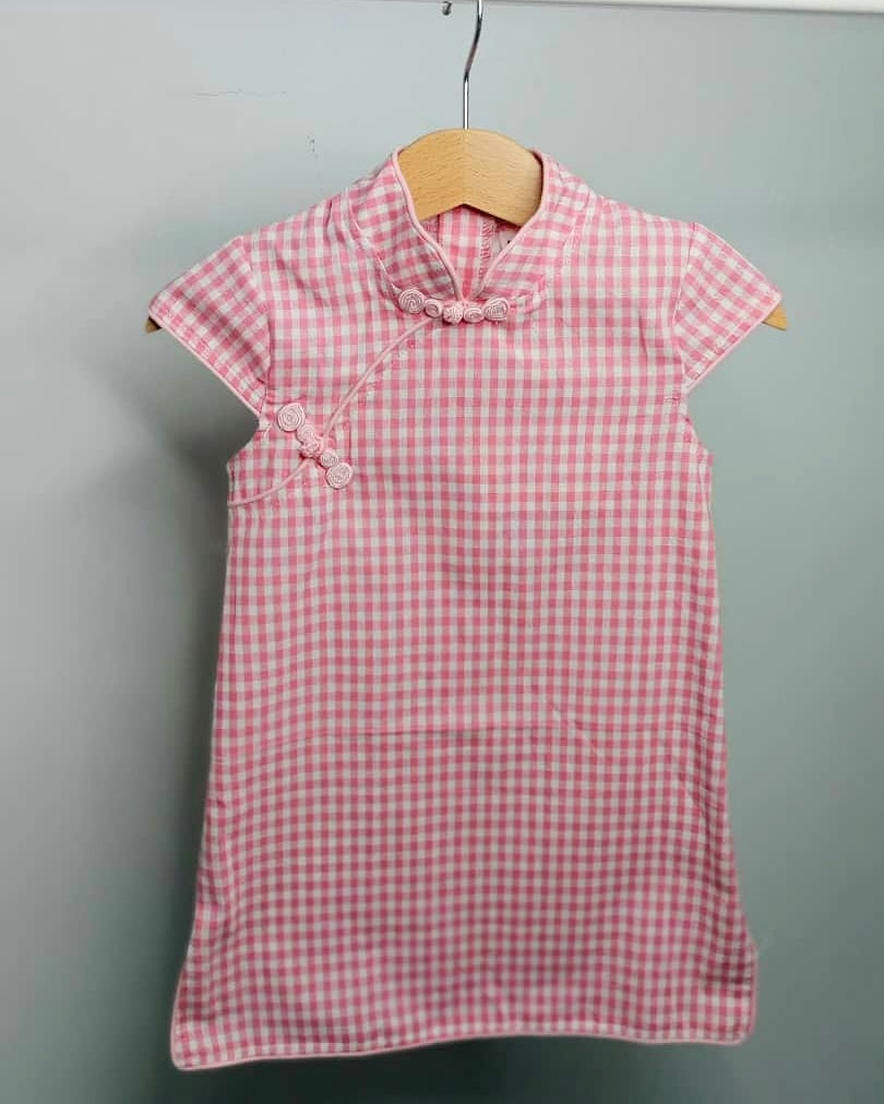 Girls Pink Checked Cheongsam Dress - (Ready stock)
