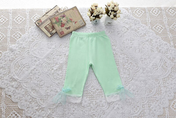 Girls Leggings with Ribbon & Lace- Green