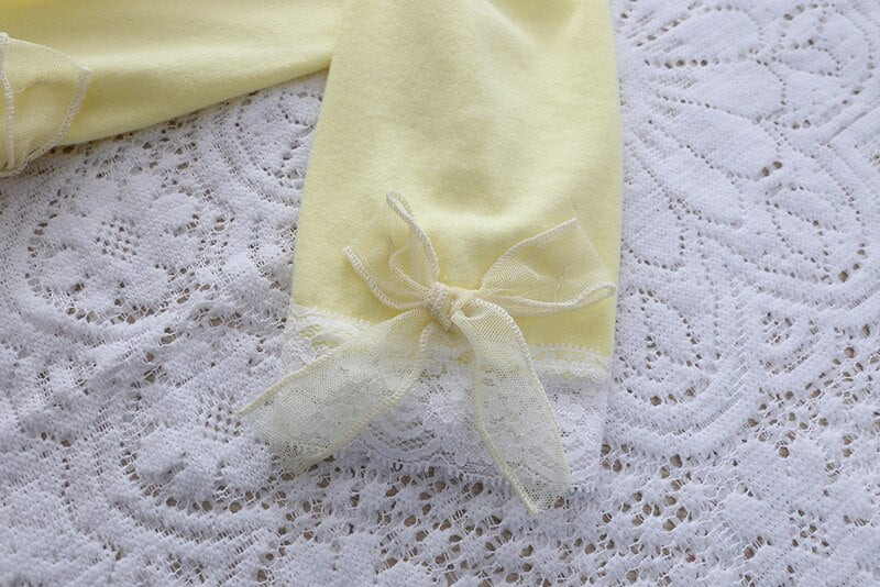 Girls Leggings with Ribbon & Lace- Yellow
