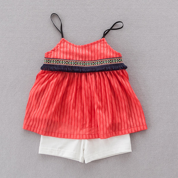Girls Red Striped Top & Cotton Short Set