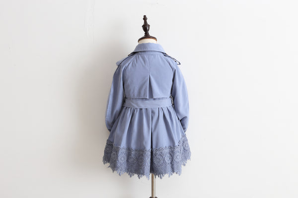 Girls' Broderie Trench Coat- Lavender Blue