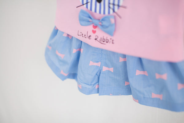Little Rabbit Top & Ribbon Print Short Set-Pink/Blue