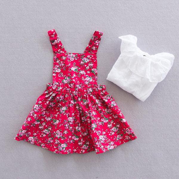 Girls Floral Pattern Red Pinafore Dress Set