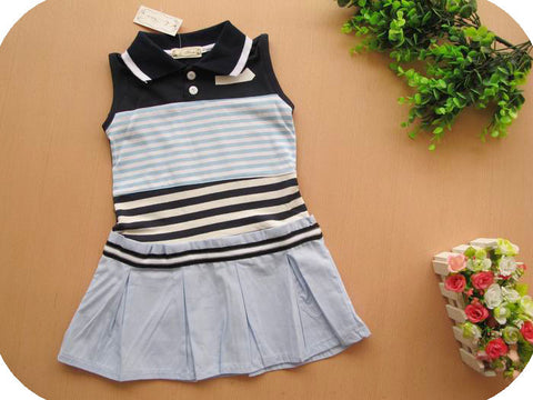 Girl's Polo-Style Cotton Dress -Blue