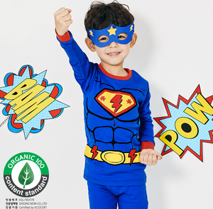 Organic Cotton Long Pyjamas - Blue Super Hero (Ready stock)