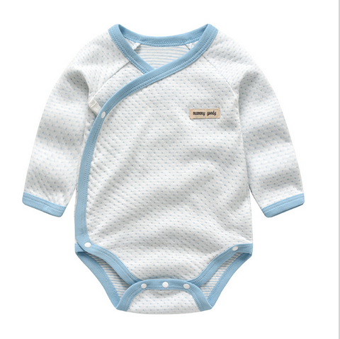 Baby Long Sleeve Wrap Style Bodysuits - Blue ( Ready stock)
