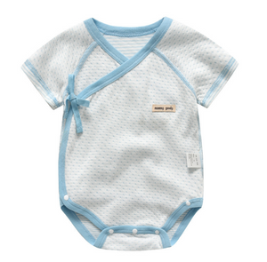 Baby Short Sleeve Wrap Style Bodysuits - Blue ( Ready stock)