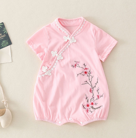 Cotton Floral Embroidery Baby Cheongsam Romper- Pink ( Ready stock)