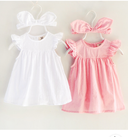 Baby Dress and Headband Set - Pink