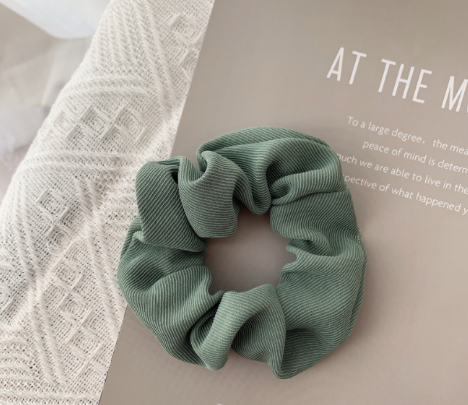 Cord Hair Scrunchie -  Light Green