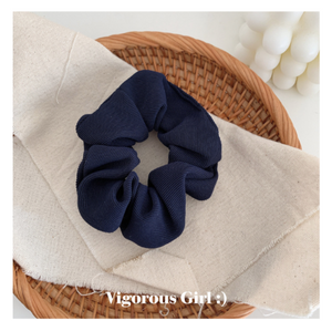 Cord Hair Scrunchie - Dark Blue