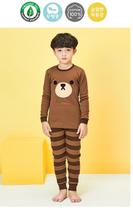 Organic Cotton Long Pyjamas - Brown Bear ( Pre-order)