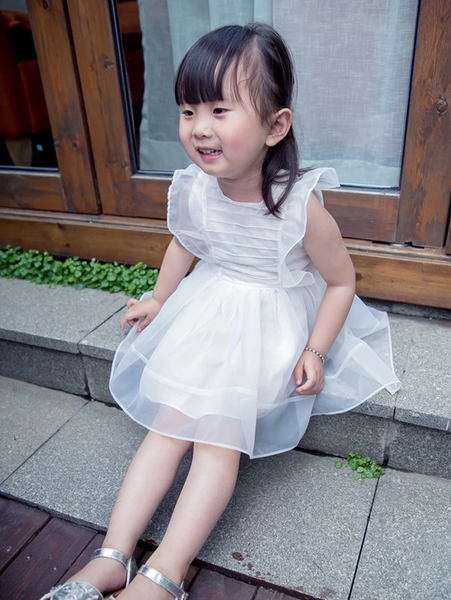 White Satin Tulle Girl Dress