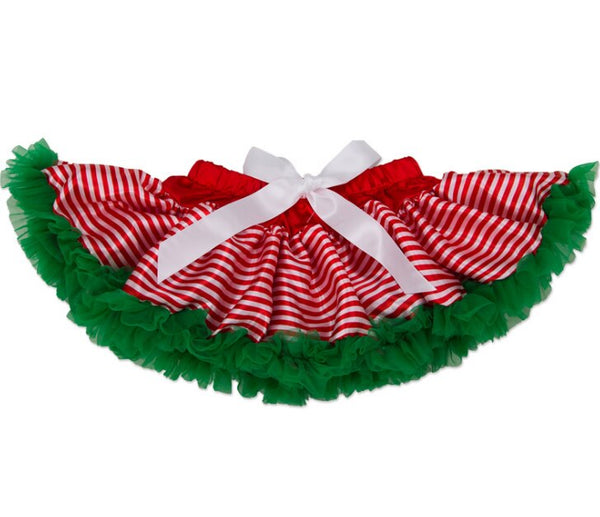 Christmas Baby Santa Outfit 3 Piece Set -Striped tutu