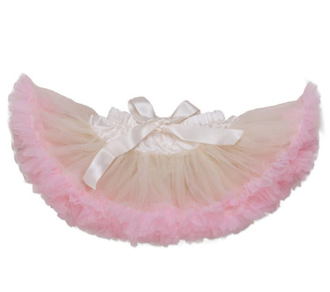 Adjustable Waist Baby TuTu Skirt for 0-2 Years-  Creme
