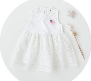 Baby Girl White Embroidered Tulle Romper Dress