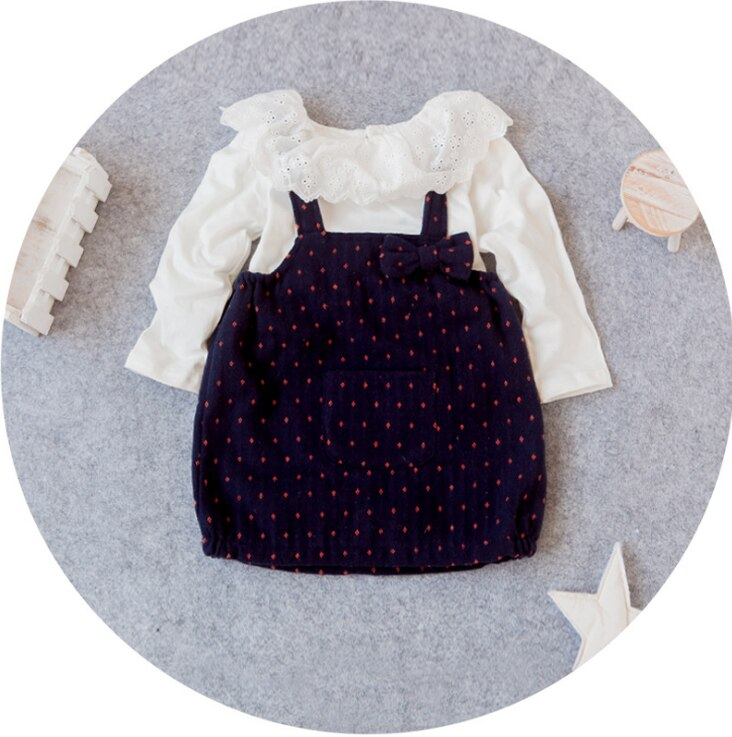 Girls Floral Pattern Navy Pinafore Dress Set