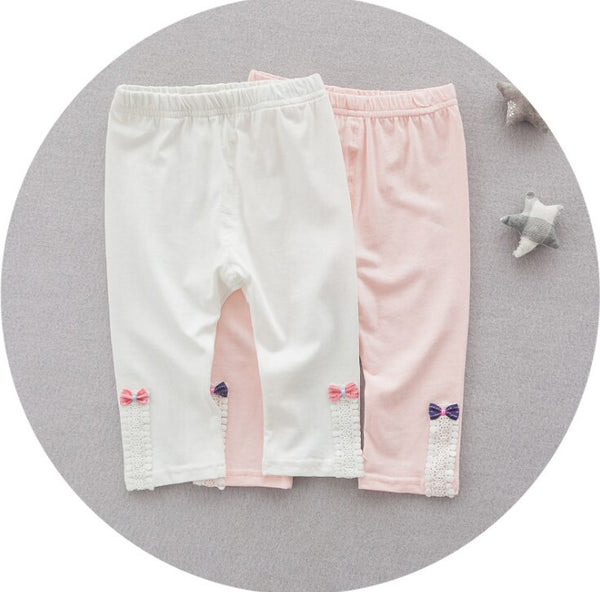 Pink Cotton Girl Leggings with Bows