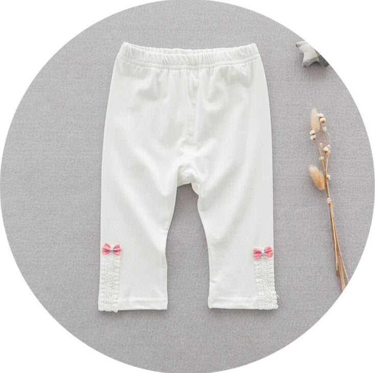 White Cotton Girl Leggings with Bows