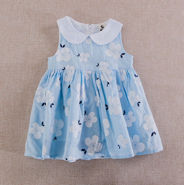 Peter Pan Floral Girl Dress- Blue