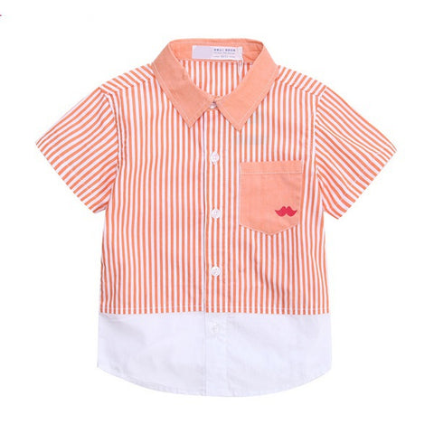 Japanese Designed Short Sleeve Striped Shirt, Peach