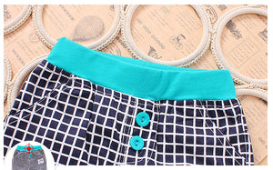 Cyan & White Checked Shorts