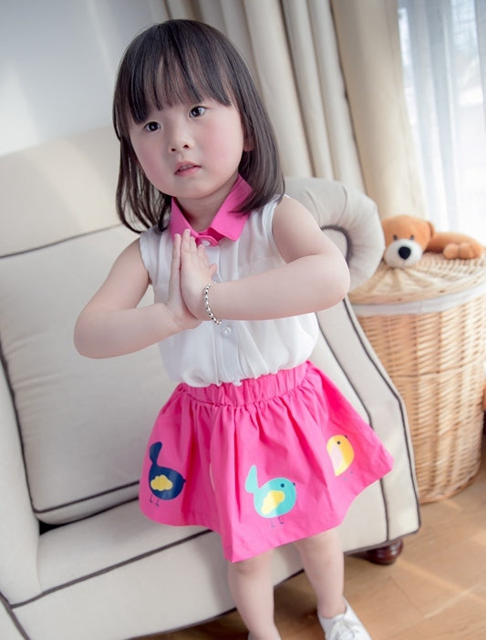 Girl Chiffon Top & Little Birds Skirt Set  - Pink