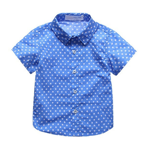 Short Sleeve Polka Dot Shirt, Blue