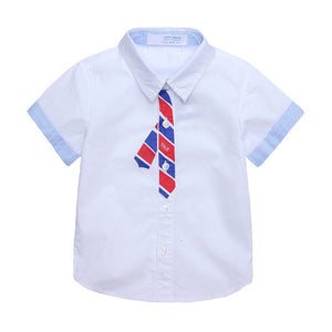 Japanese Designed Short Sleeve Tie Print White Shirt