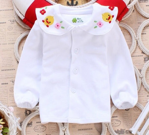 Duck Embroidered Peter Pan Collar Blouse - White