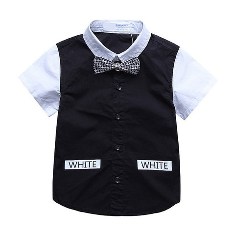 Boy Short Sleeve Bow Tie Two-Tone Shirt, Black