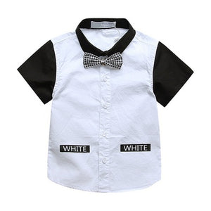 Boy Short Sleeve Bow Tie Two-Tone Shirt, White