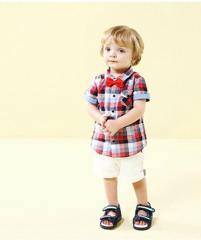 Scottish Check Shirt, Bow Tie & White Short Set